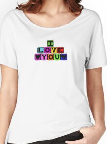 Toy Blocks, Building Bricks - Yellow Blue Green Red  Women's Relaxed Fit T-Shirt