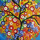 rainbow tree with circle leaves and bright colours - phone by cathyjacobs