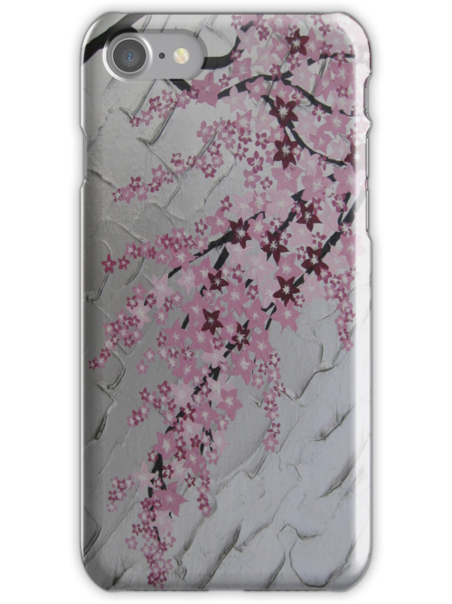 pink cherry blossom with white and silver by cathyjacobs