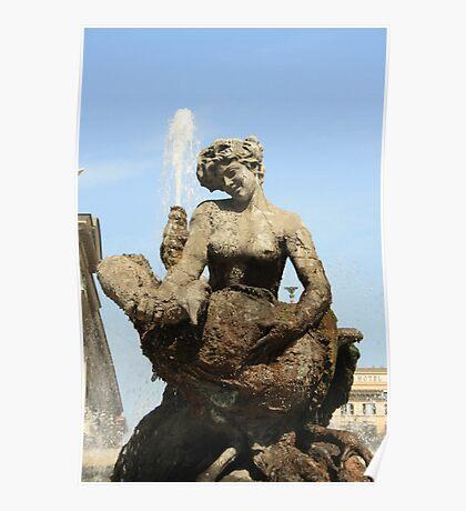 Rome Statue of the fountain dell'Esedra Poster
