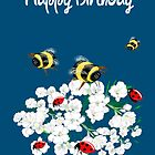 Happy Birthday Card - Nature art - bees and flowers by LeahG Artist