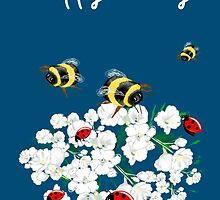 Happy Birthday Card - Nature art - bees and flowers by Cartoonistlg