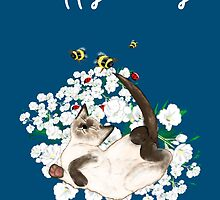 Happy Birthday Card - Siamese Cat at leisure by Cartoonistlg