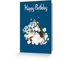 Happy Birthday Card - Siamese Cat at leisure Greeting Card