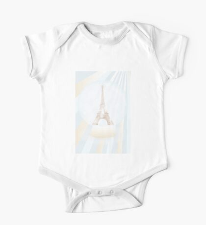 Retro poster with Eiffel-tower inside a snowglobe One Piece - Short Sleeve