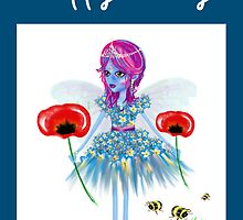 Happy Birthday Card - Flower Fairy Natures Gift by Cartoonistlg