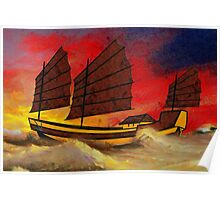 A digital painting of a Chinese Junk in Rough Seas Poster