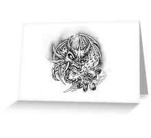 Dragon & skull in flame Greeting Card