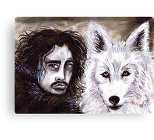 Jon Snow & The White Wolf Canvas Print