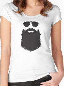 AVIATOR GLASSES AND BEARD Women's Fitted Scoop T-Shirt