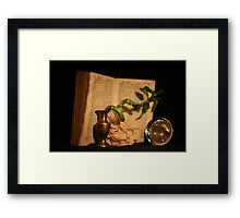 Still life with an old book Framed Print