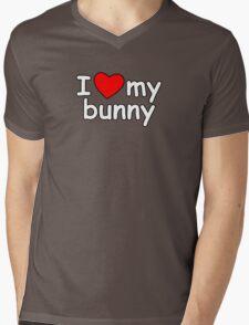 I Love My Bunny Mens V-Neck T-Shirt