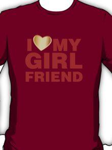 I Love My Girlfriend Gold Valentines Day T-Shirt