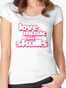 Love Music And Skulls Emo Women's Fitted Scoop T-Shirt
