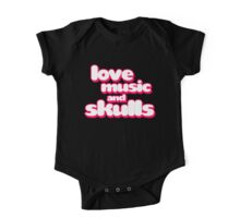 Love Music And Skulls Emo One Piece - Short Sleeve