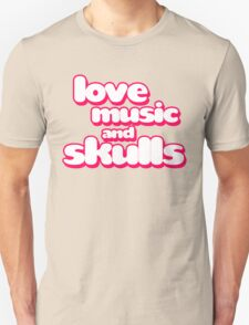 Love Music And Skulls Emo T-Shirt