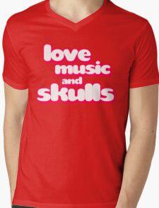 Love Music And Skulls Emo Mens V-Neck T-Shirt