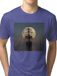 Pirate ship with full moon Tri-blend T-Shirt