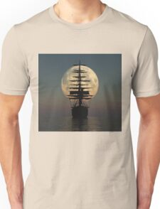 Pirate ship with full moon Unisex T-Shirt