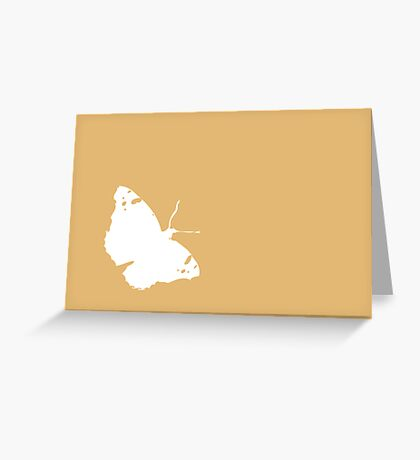 White Butterfly on Orange Greeting Card