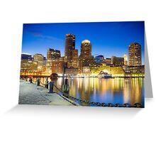 Boston skyline by night Greeting Card