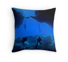 Inside looking Out - Divers in a Cave Throw Pillow