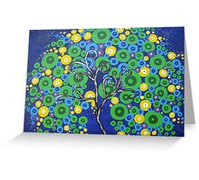 peacock tree with circle leaves Greeting Card