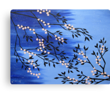 Cherry blossom peach / apricot and blue with snow flakes Canvas Print