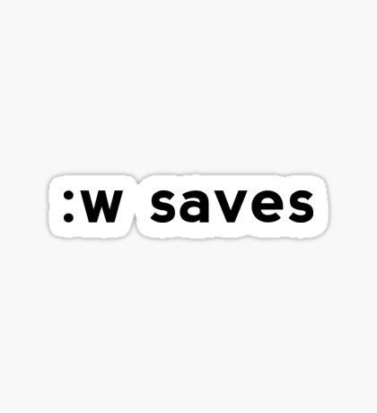 :w saves - Black Text for Vi/Vim Users Sticker