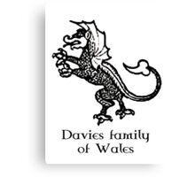 Welsh Heritage: Davies surname Canvas Print