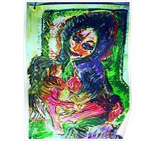 GIRL IN A FUR COAT - acrylic, tempera, paper 18 x 24'' Poster