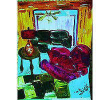 RECLINER IN A LIVING ROOM - acrylic, tempera, paper 22 x 28'' Photographic Print