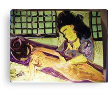 MASSAGE - ACRYLIC, TEMPERA, PAPER 18 X 24''  Canvas Print