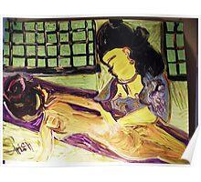 MASSAGE - ACRYLIC, TEMPERA, PAPER 18 X 24''  Poster