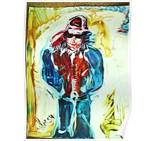 SNOW WALK - acrylic, tempera, paper 22 x 28'' Poster