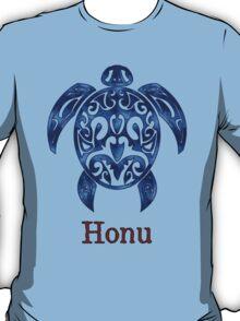 Hawaiian Sea Turtle in Variable Blue T-Shirt