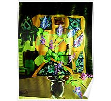LILAC ON A COUNTER TOP - 1 - ACRYLIC, TEMPERA, PAPER 22 X 28'' Poster