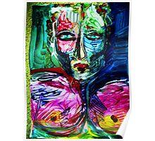 MODERN MAN - acrylic, tempera, paper 18 x 24'' Poster