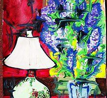 LAMP AND LILAC - acrylic, tempera, paper 18 x 24'' by irishrainbeau
