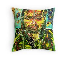 PORTRAIT OF A MAN - acrylic, tempera, paper 18 x 24'' Throw Pillow