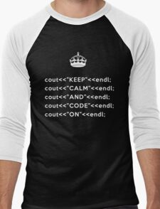 Keep Calm And Carry On - C++ - endl - White Men's Baseball ¾ T-Shirt
