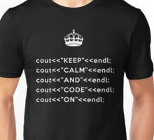 Keep Calm And Carry On - C++ - endl - White Unisex T-Shirt
