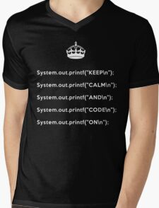Keep Calm And Carry On - Java - printf with \n back - White Mens V-Neck T-Shirt