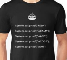 Keep Calm And Carry On - Java - printf with \n front - White Unisex T-Shirt