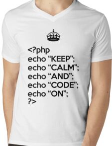 Keep Calm And Code On - PHP - Black Mens V-Neck T-Shirt