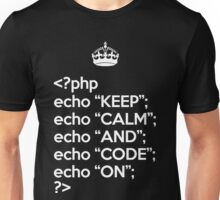Keep Calm And Code On - PHP - White Unisex T-Shirt