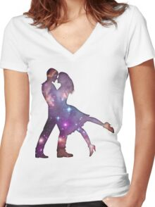 Cosmic Couple Women's Fitted V-Neck T-Shirt