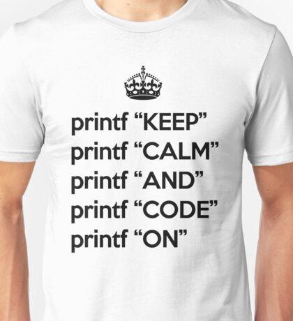 Keep Calm And Code On - Ruby - printf - Black Unisex T-Shirt