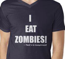I EAT ZOMBIES (White) Mens V-Neck T-Shirt