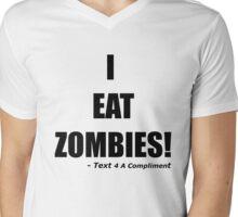 I EAT ZOMBIES (Black) Mens V-Neck T-Shirt